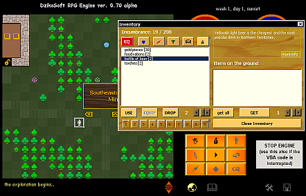 RPG.XLS 0.70a engine screenshot